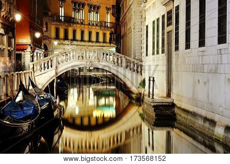 Venice Italy Europe - scenic view of venetian canal at night