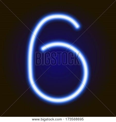 single light blue neon numeral 6 of vector illustration