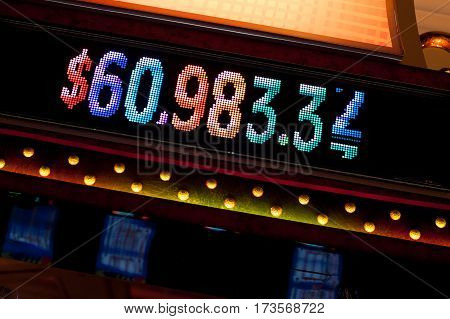Digital display with cash prize on the floor of Atlantic City casino