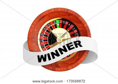 Casino Roulette Wheel with Ribbon Banner and Winner Sign on a white background. 3d Rendering.