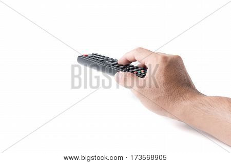 Hand With Multimedia Tv Remote Control Isolated