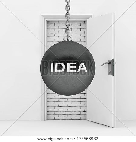 Wrecking Ball with Idea Sign Ready to Destroy Brick Wall wich Blocked White Opened Door extreme closeup. 3d Rendering.