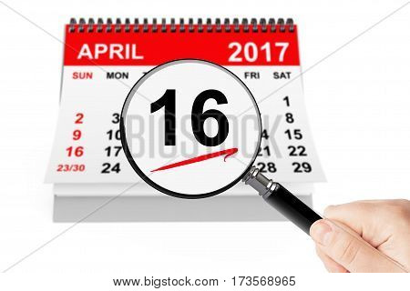 Orthodox Easter Concept. 16 april 2017 calendar with magnifier on a white background