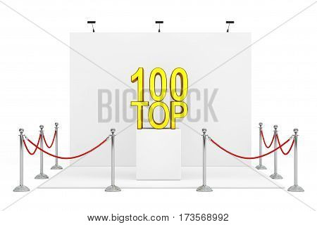 Barrier Rope Around Trade Show Booth with Golden Top 100 Sign over Stand on a white background. 3d Rendering.