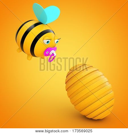 Cartoon Bee in front of Beehive on a orange background. 3d Rendering.