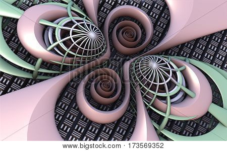 3D illustration of virtual scene with abstract colorful spirals in perspective view