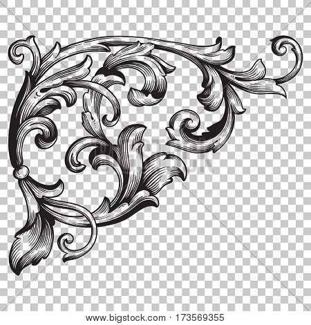 Isolate vintage corner baroque ornament retro pattern antique style acanthus. Decorative design element filigree calligraphy vector. You can use for wedding decoration of greeting card, laser cutting.