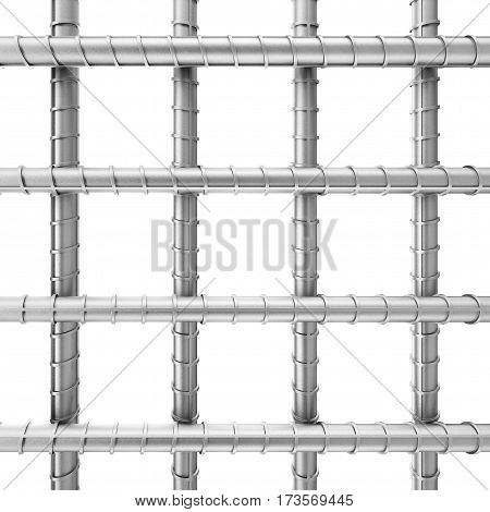 Metal Reinforcement Steel Rebars as Welded Wire Mesh on a white background. 3d Rendering.