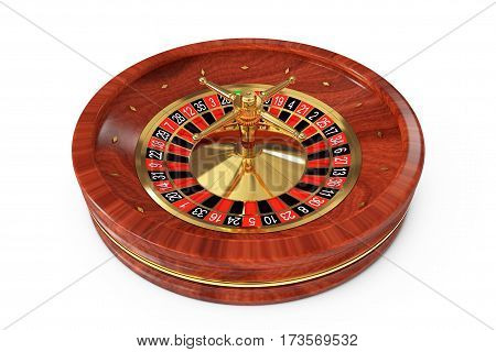 Casino Roulette Wheel on a white background. 3d Rendering.