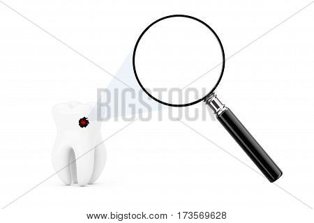Tooth Seens Through Magnifying Glass with Blank Space on a white background. 3d Rendering.