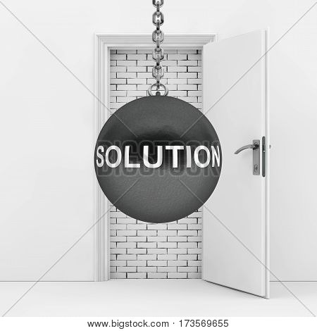 Wrecking Ball with Solution Sign Ready to Destroy Brick Wall wich Blocked White Opened Door extreme closeup. 3d Rendering.