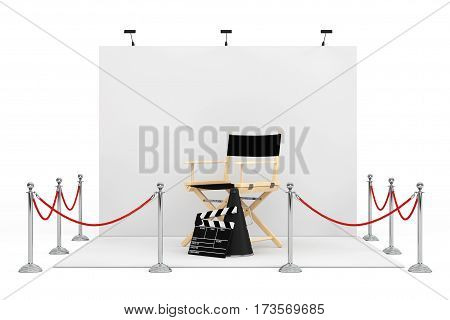 Barrier Rope Around Trade Show Booth with Director Chair Movie Clapper and Megaphone on a white background. 3d Rendering.