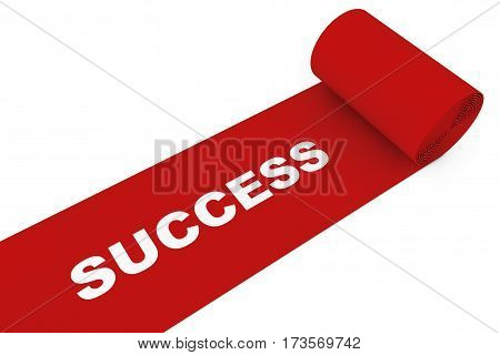 Unrolled Red Carpet with Success Sign on a white background. 3d Rendering.