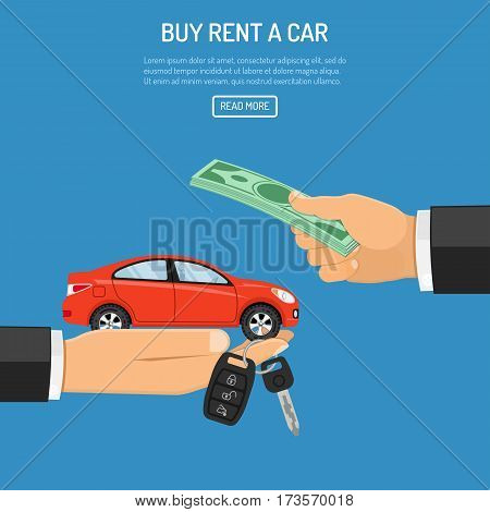 buy or rental car concept with flat icons. hand holding car keys, other hand gives money. isolated vector illustration