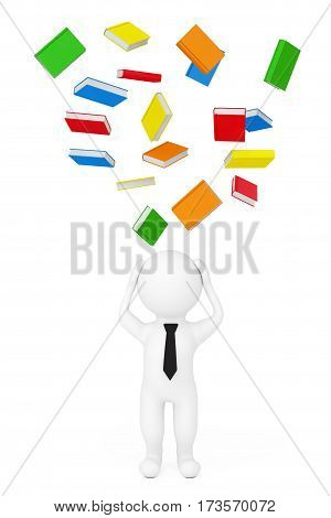 3d Person Stressed with Failing Books on a white background. 3d Rendering.