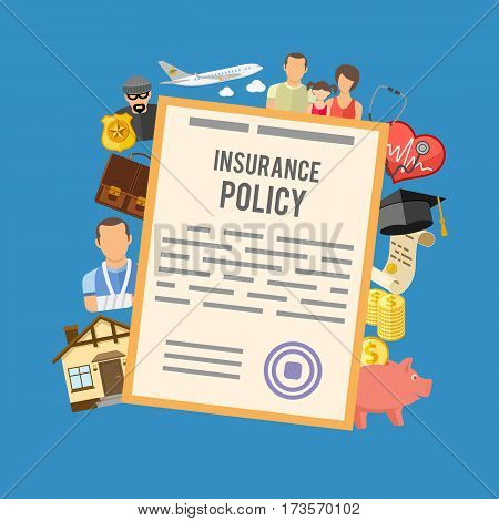 Insurance Services Concept with flat icons Policy, House, Medical, Family and Business, isolated vector illustration