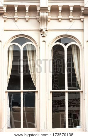 Windows of King street colonial house, downtown Charleston, SC