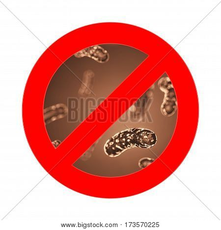 Red Prohibition Sign with closeup Bacteria Viruse Microbe on a white background. 3d Rendering.