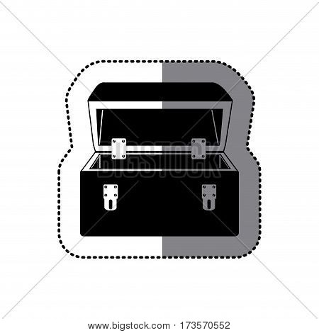 sticker black silhouette with tool box vector illustration