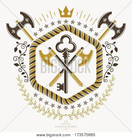 Heraldic design vector vintage emblem with armory and security keys