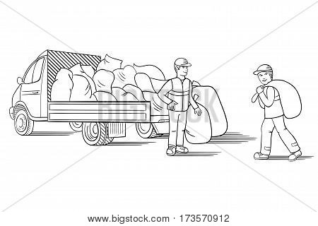 Vector illustration of truck with cargo for moving or relocation with moving men carrying load
