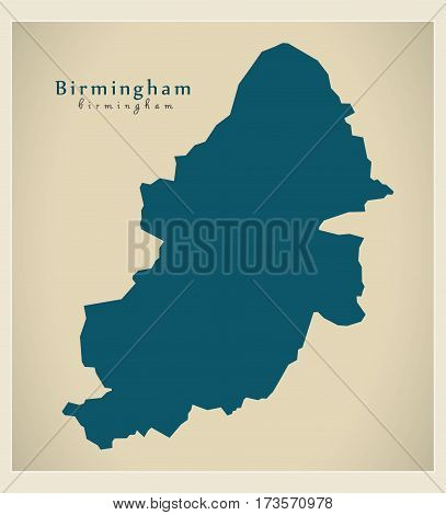 Modern City Map - Birmingham England Illustration