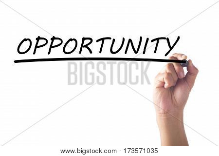 Hand writing word OPPORTUNITY on transparent board