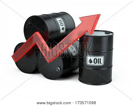 Increasing oil price - growing arrow up and oli barrels isolated on white. 3d render