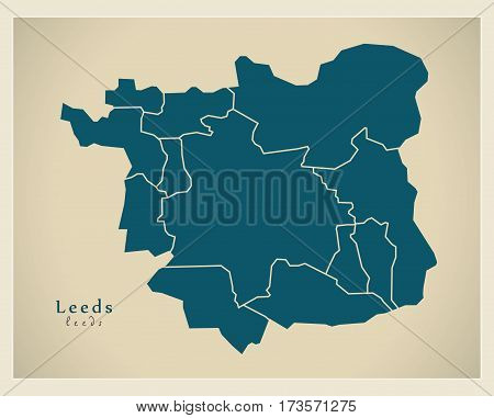 Modern City Maps - Leeds With Boroughs England Illustration