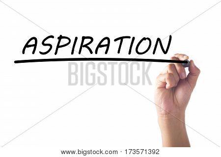 Hand writing word ASPIRATION on transparent board