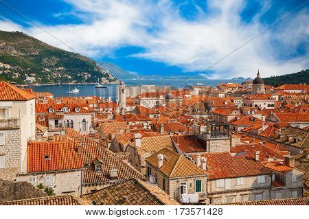 amazing aerial view of the Dubrovnik Old Town from its City Walls Croatia