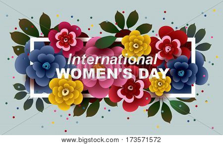 International Women's Day card with colorful bouquet of flowers in the frame. Vector greeting card template.