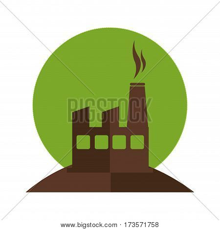 color silhouette with factory and smoke contamination vector illustration