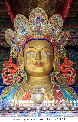 Stature of Buddha in a temple inside a monastery in Ladakh province of India.