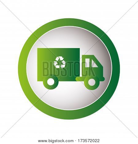 circular frame with recycling truck vector illustration