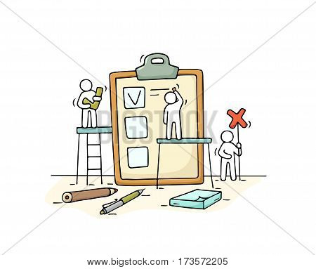 Sketch crowd of people with checklist. Doodle cute miniature with business planner. Hand drawn cartoon vector illustration for business design.