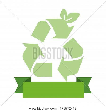opaque green background with recycling symbol and ribbon vector illustration