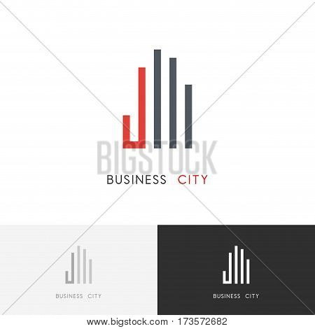 Business city logo - skyscrapers and hand symbol. Real estate and building vector icon.