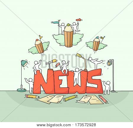 Cartoon working little people with word News. Doodle cute miniature scene of workers about journalism. Hand drawn cartoon vector illustration for mass media design.