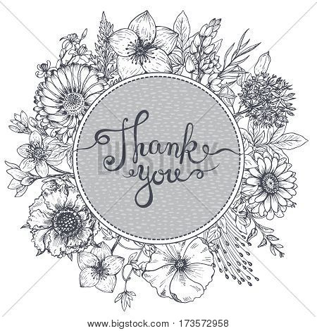 Thank you card with hand drawn flowers, leaves and branches in sketch style. Black and white vector illustration
