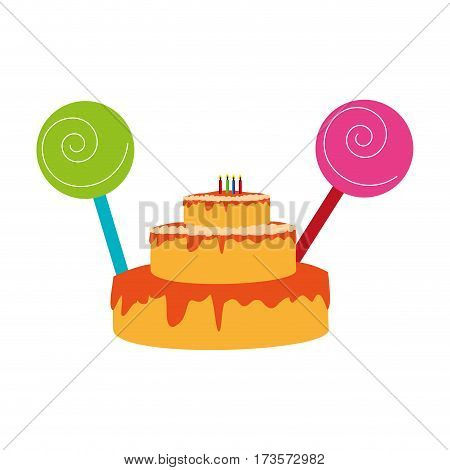 color silhouette with birthday cake and candles and lolly pops vector illustration