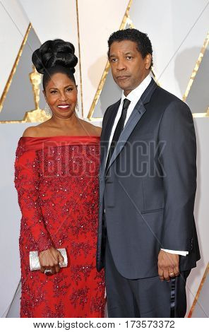 Denzel Washington and Pauletta Washington at the 89th Annual Academy Awards held at the Hollywood and Highland Center in Hollywood, USA on February 26, 2017.