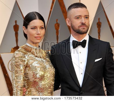 Jessica Biel and Justin Timberlake at the 89th Annual Academy Awards held at the Hollywood and Highland Center in Hollywood, USA on February 26, 2017.