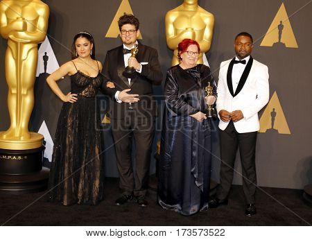 Anna Udvardy, Kristof Deak, David Oyelowo and Salma Hayek at the 89th Annual Academy Awards - Press Room held at the Hollywood and Highland Center in Hollywood, USA on February 26, 2017.