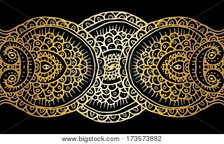 Ethnic tribal abstract background endless gold pattern in vector. Can be used for card, poster, label or web design