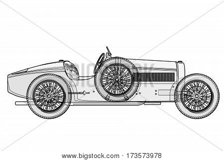 Ancient race car Bugatti in contour lines as per schedule. Side view of racing machine with woven though. Funny retro future black and white car. Isolated illustration master vector.