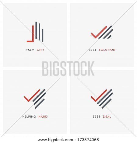 Business logo set. Hand with check mark or tick symbols - partnership, success and charity work icons.