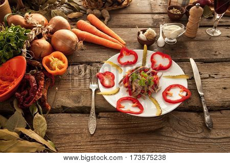 Healthy salad made with fresh organic vegetables lunch for people on diet.