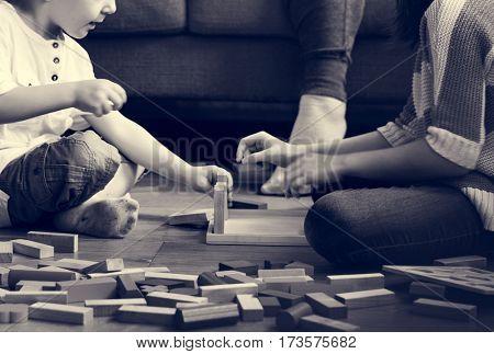 Little Boy Playing Toy Blocks