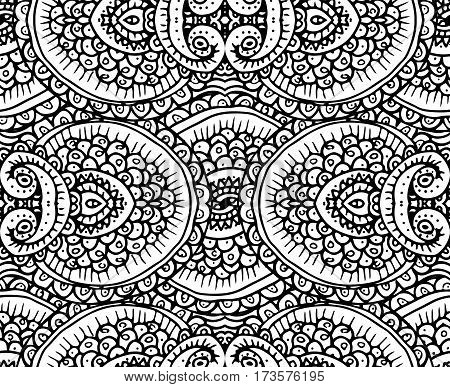 Black and white ethnic tribal abstract seamless background pattern in vector